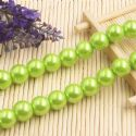 Beads, Glass Imitation pearls, Glass, Olive , Round shape, Diameter 12mm, 7 Beads, [FZZ0061]